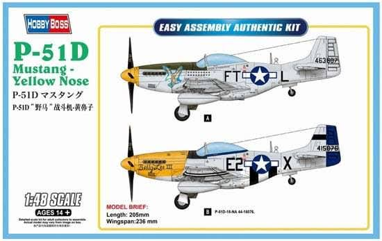 Hobby Boss P-51D Mustang Yellow Nose 1-48 Plastic Model Airplane