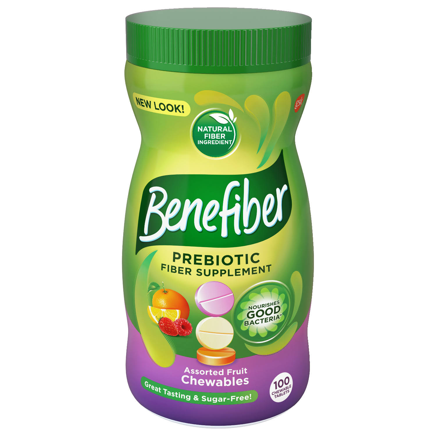 Benefiber Chewable Natural Fiber Supplement - Assorted Fruit, 100 Tablets