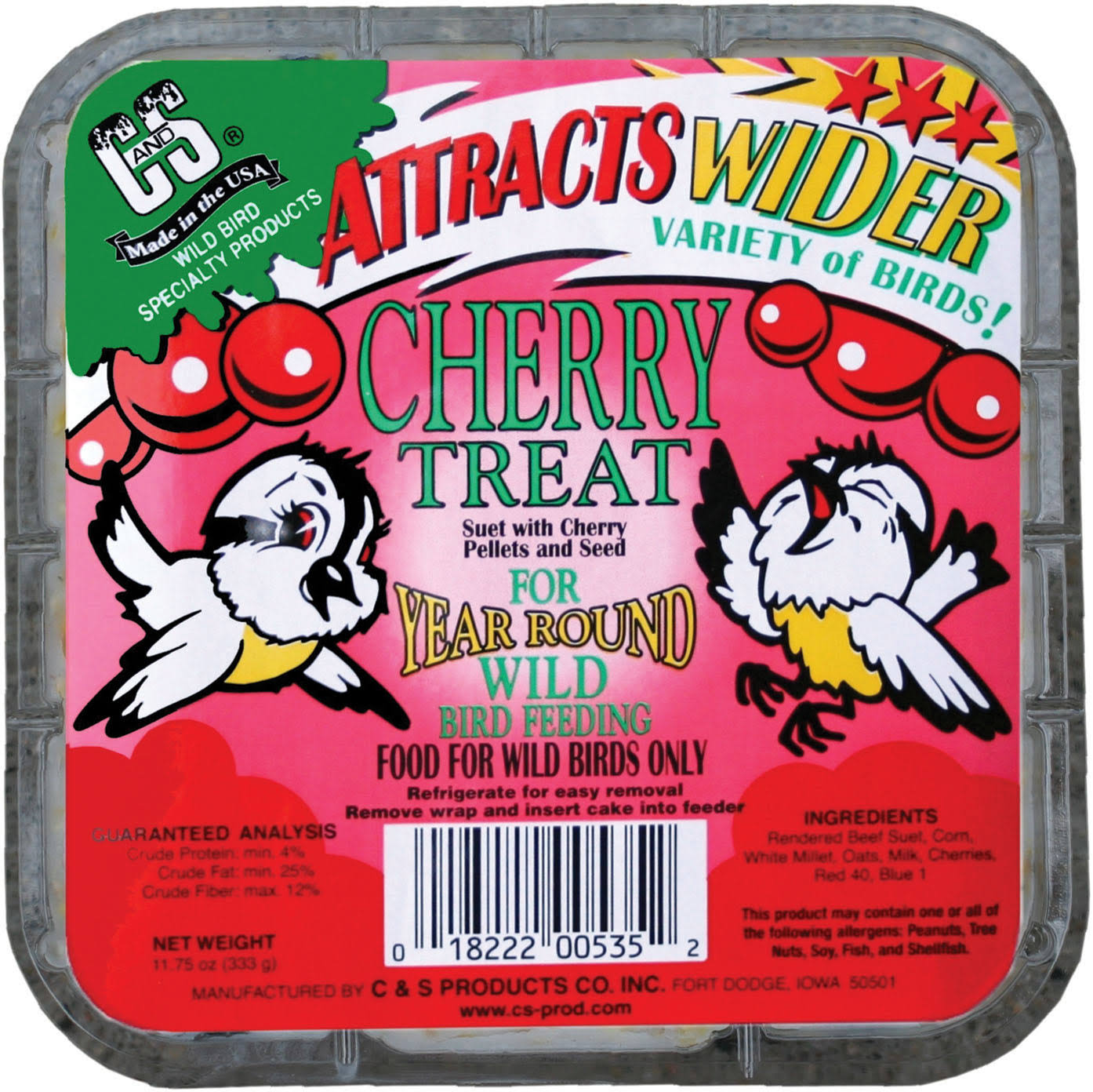 C and S 12535 Cherry Treat Suet Bird Feed - 11.75oz