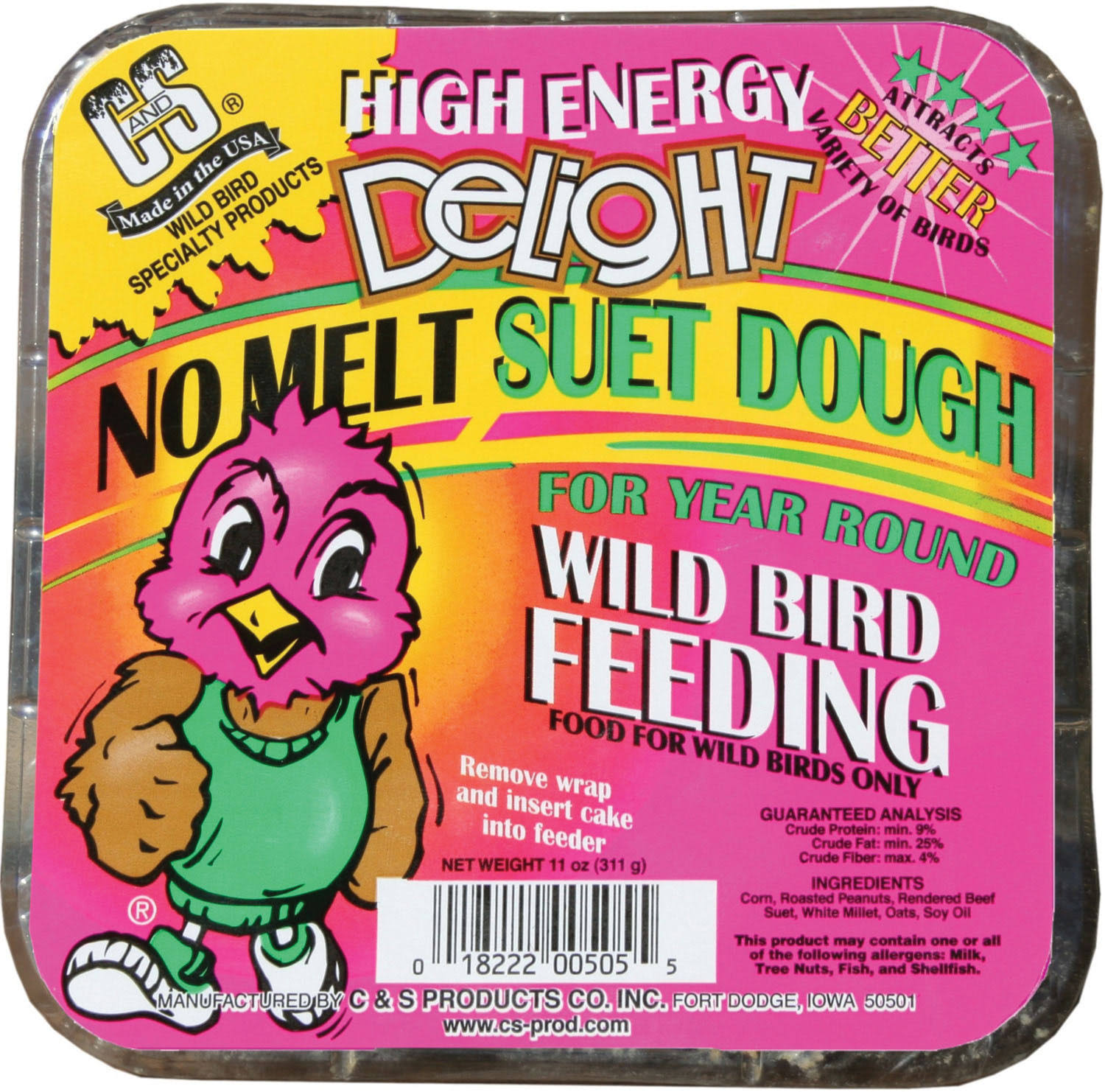 C and S Products High Energy Delight No Melt Suet Dough Bird Cake - 11oz