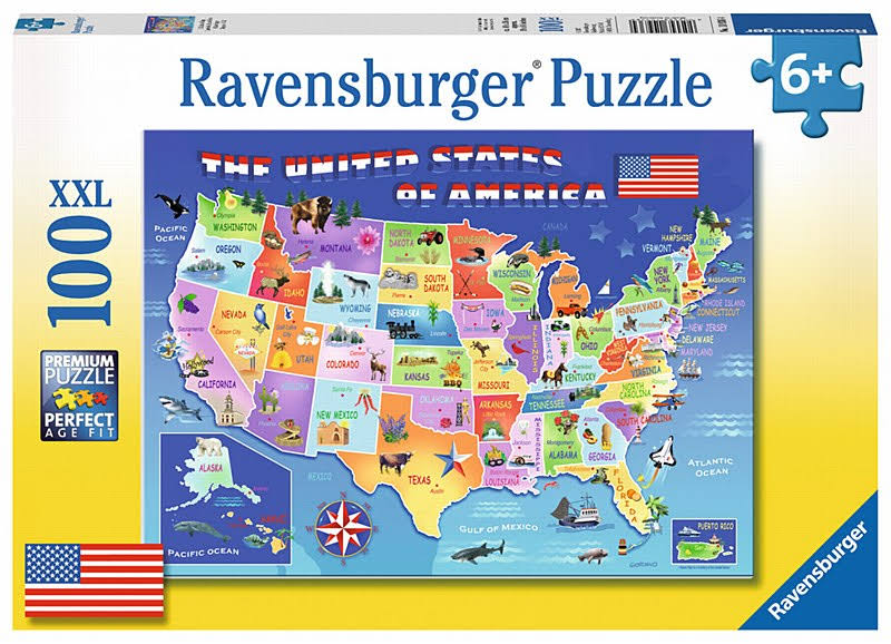 Ravensburger Usa State Map Puzzle - 100 Pieces