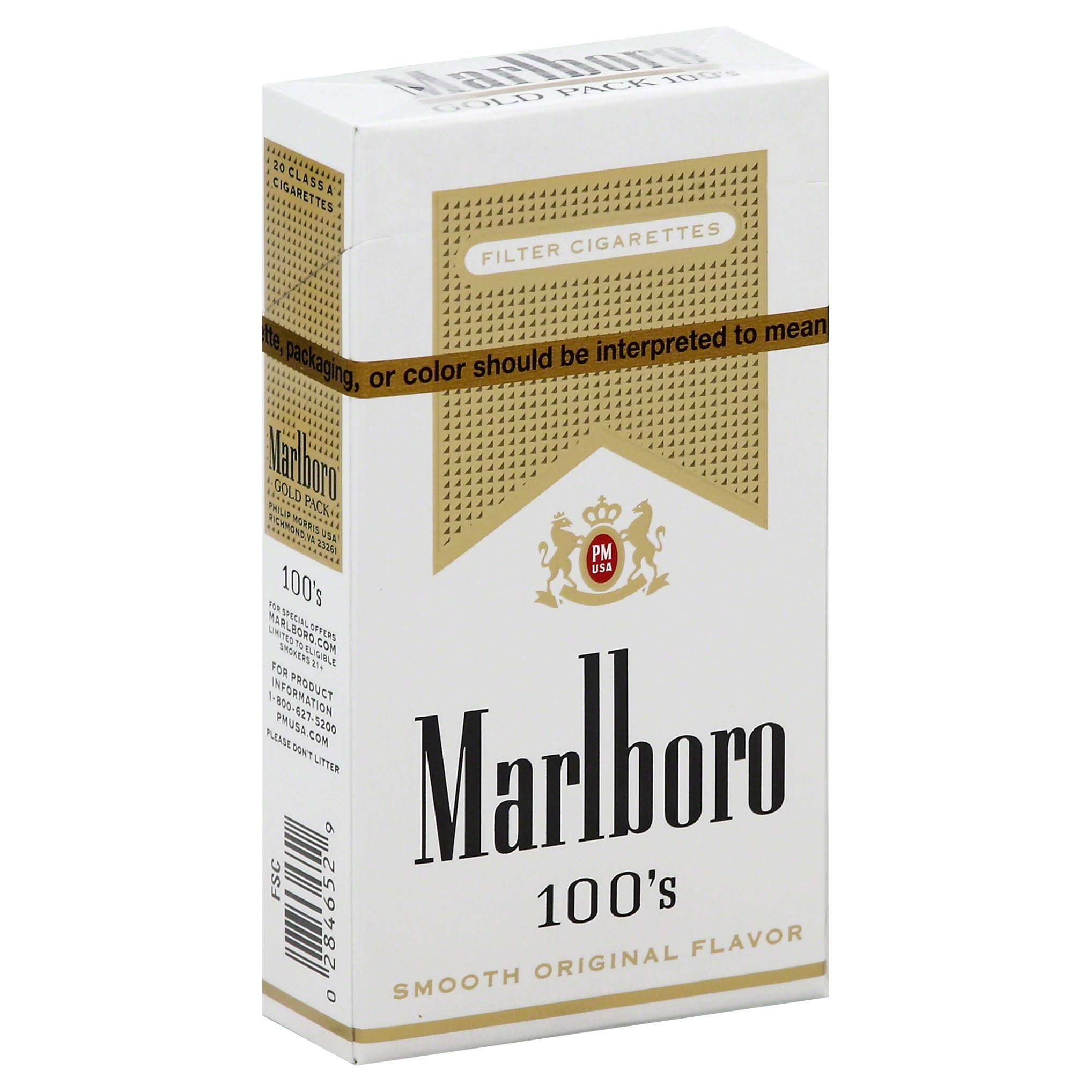 Marlboro Cigarettes, Filter, Gold Pack, 100's, Flip-Top Box - 20 cigarettes
