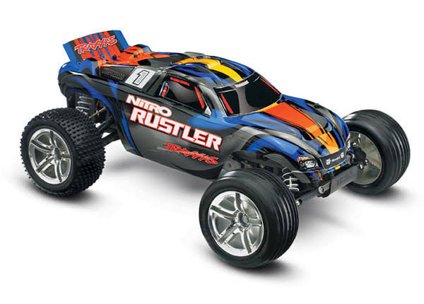 Traxxas Nitro Rustler 2WD RTR Model Kit - Silver and Blue, 1:10 Scale