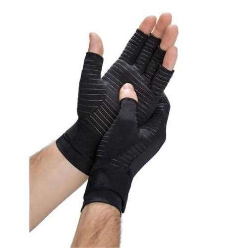 Copper Fit Hand Relief Muscle and Joint Support Compression Gloves - Black, Small/Medium