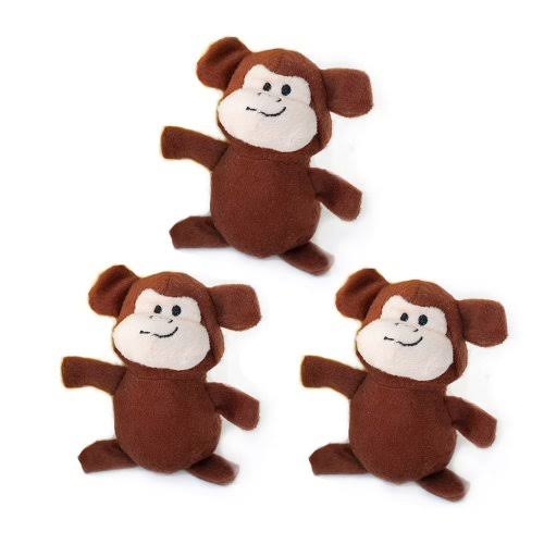ZippyPaws Burrow Squeaky Plush Dog Toys - Monkey, Medium, 3 Pack