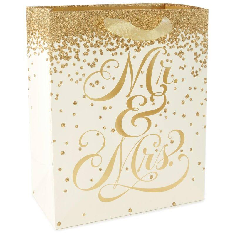 Hallmark Gold Glitter Mr. and Mrs. Large Gift Bag, 13""