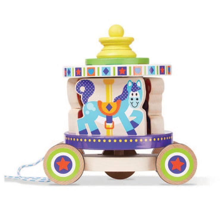 Melissa & Doug First Play Wooden Spinning Carousel Pull Toy - With Removable Play Pieces