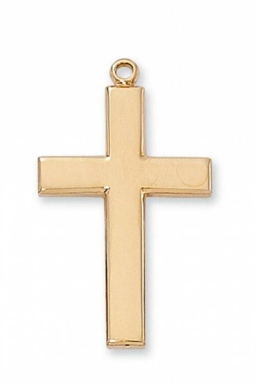 Gold Plated Sterling Silver Cross 24 inch Chain
