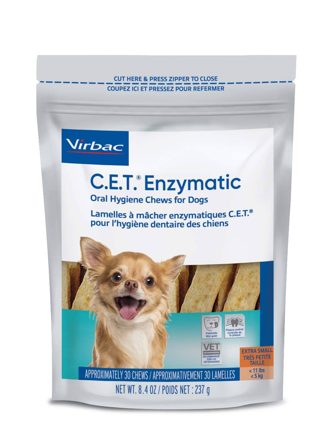 C.E.T. Enzymatic Oral Hygiene Chews for Dogs Extra Small, 30 ct (Formerly Called Petite )
