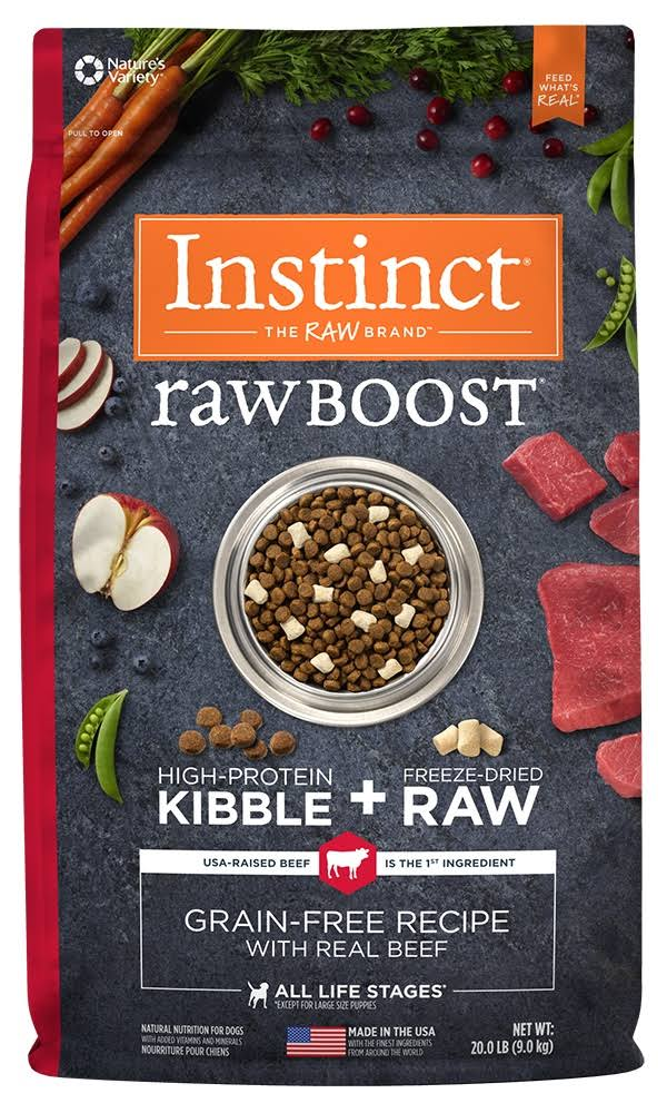 Natures Variety Instinct Raw Boost Dog Food - Natural Grain Free Raw Beef, 10lbs