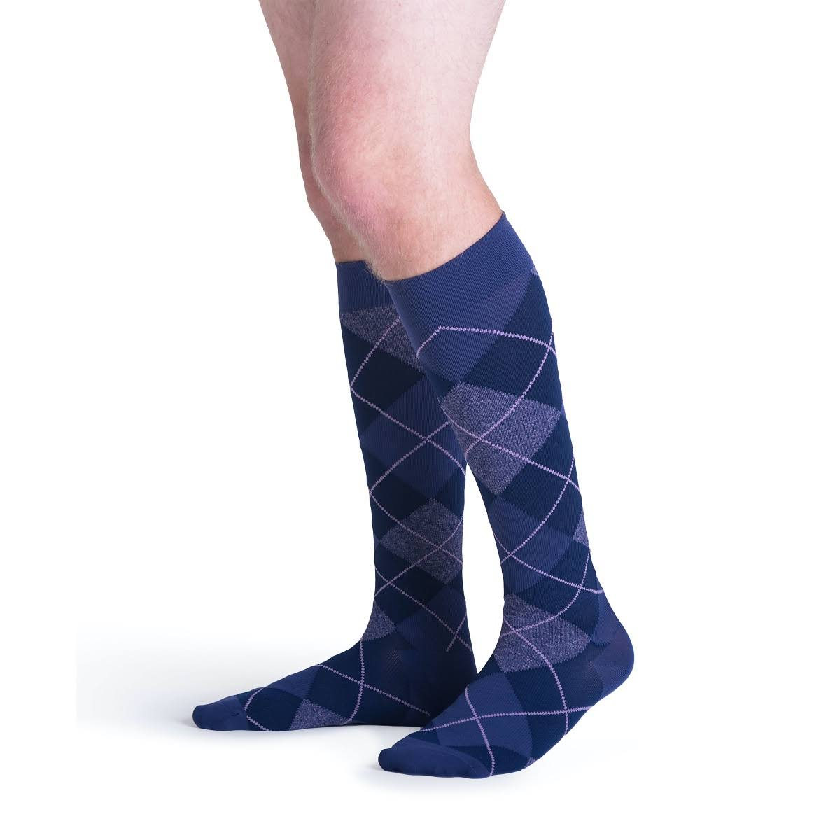 Sigvaris Microfiber Shades Men's 15-20 mmHg Knee High B / Purple Argyle