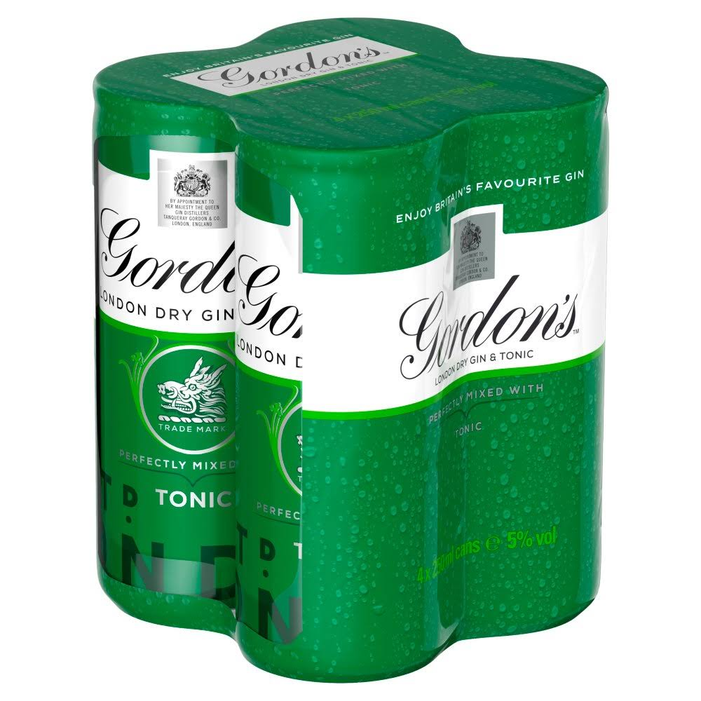 Gordon's London Dry Gin and Tonic - 4 x 250ml
