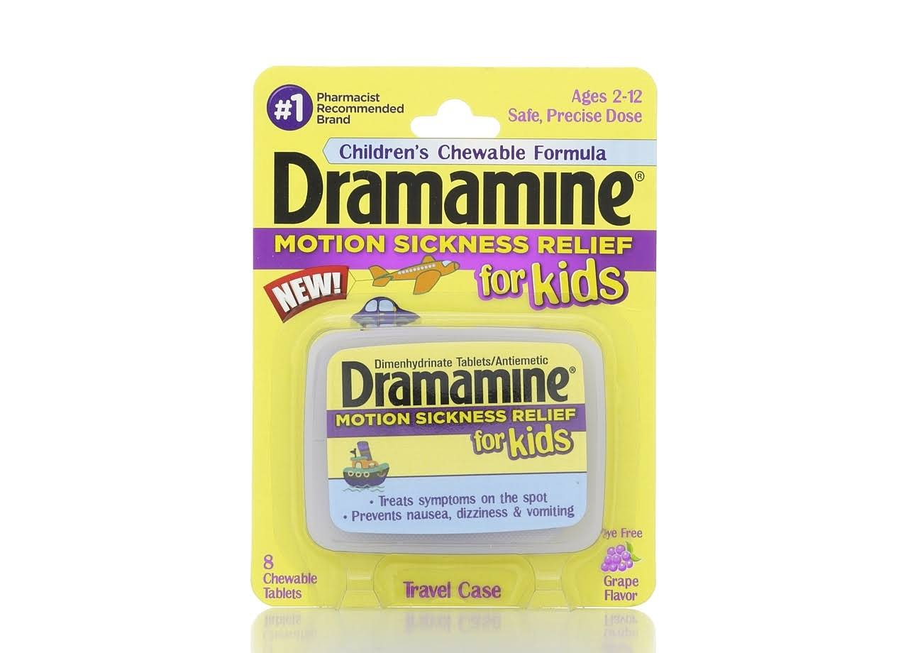 Dramamine Motion Sickness Relief for Kids - Grape Flavor, 8 Count