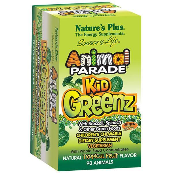 Nature's Plus Animal Parade Kid Greenz Chewable Dietary Supplement - Tropical Fruit, x90