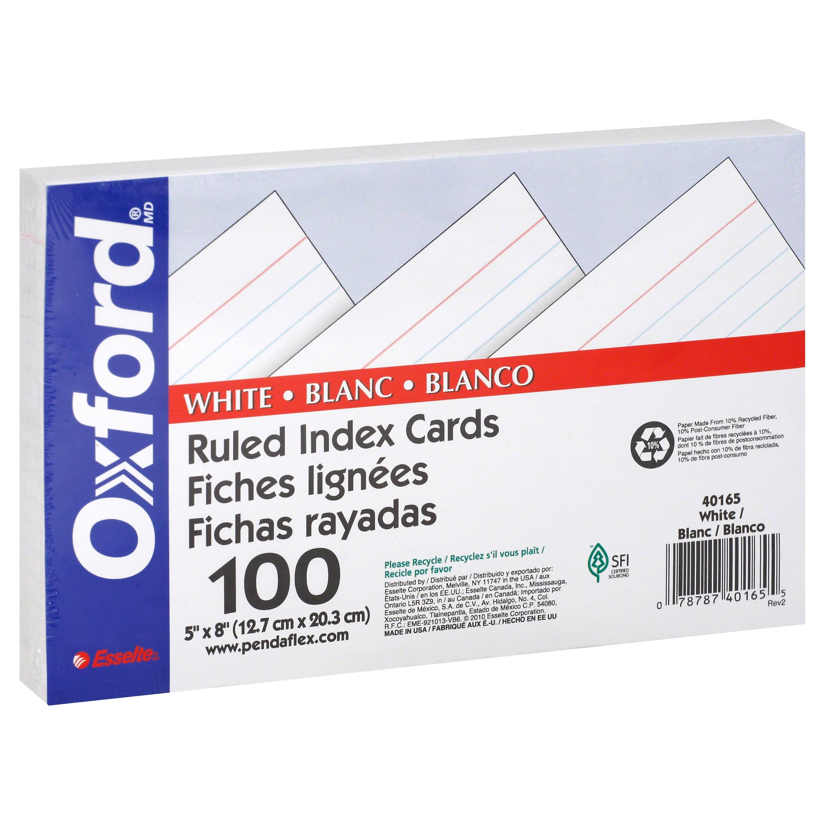 "Oxford Ruled Index Cards - White, 5"" x 8"", 100pk"