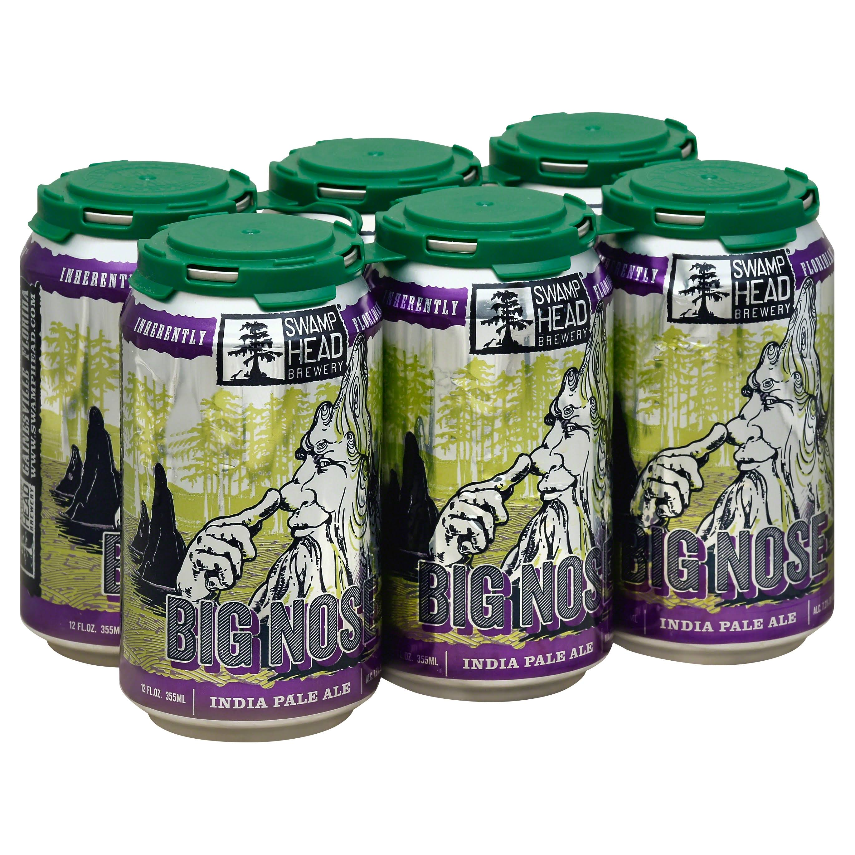 Swamp Head Brewery Beer, India Pale Ale, Big Nose - 6 pack, 12 fl oz cans