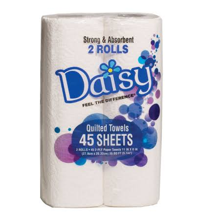 CPC 60552 PEC White 2ply 45 Sheet 2 Pack Daisy Kitchen Roll Towel - Pack of 6 & 2 per Pack