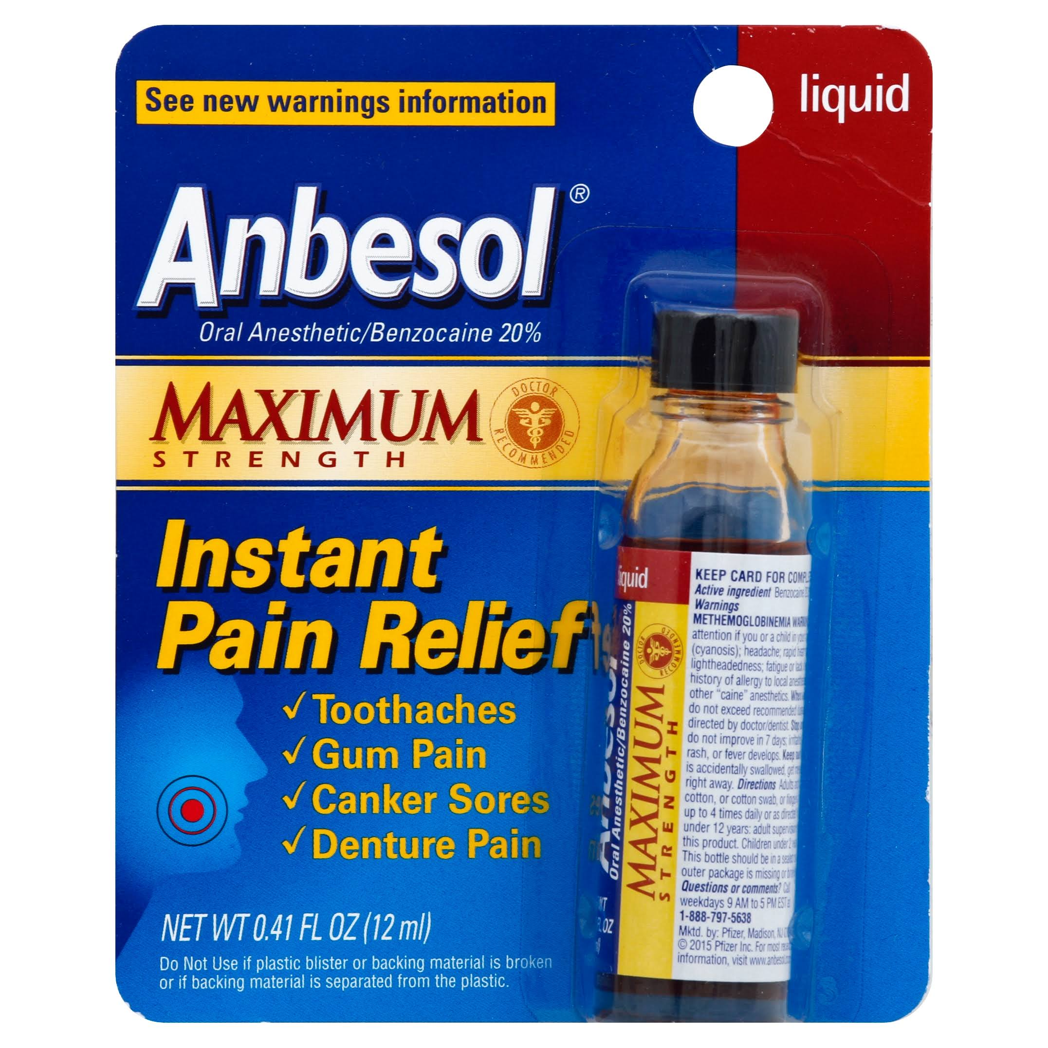 Anbesol Maximum Strength Instant Pain Relief Liquid - 0.41oz