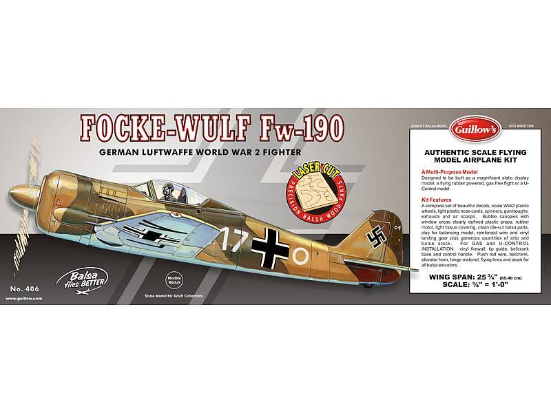 Guillows Focke-Wulf FW-190 Laser Cut Aircraft Flying Model Kit