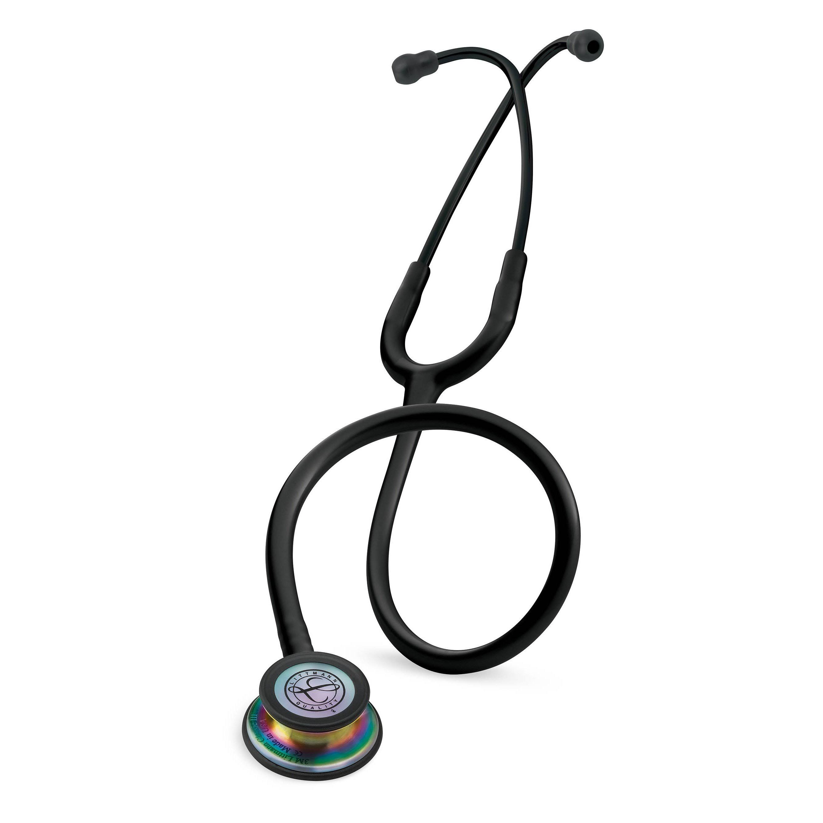 Littmann Classic III Stethoscope - Rainbow Finish Chestpiece, Black Tube, 27""