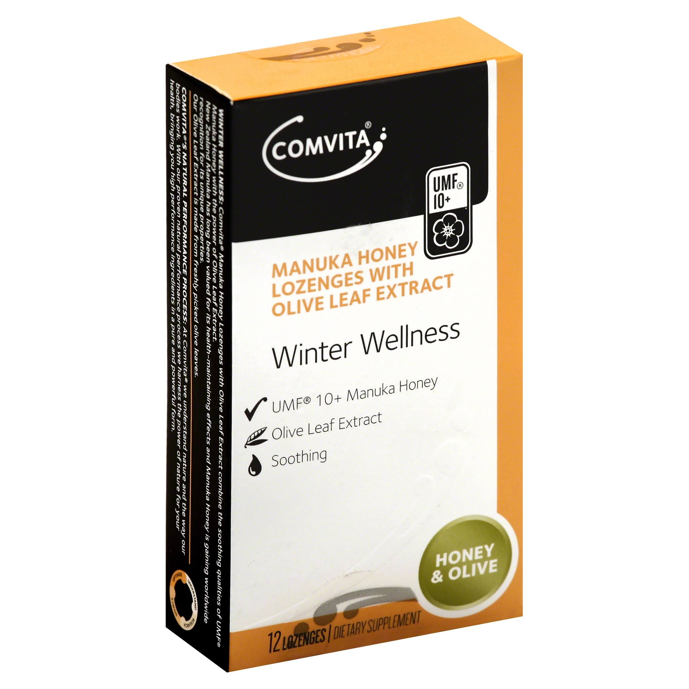 Comvita Manuka Honey Lozenges with Olive Leaf Extract - Honey & Olive, x12