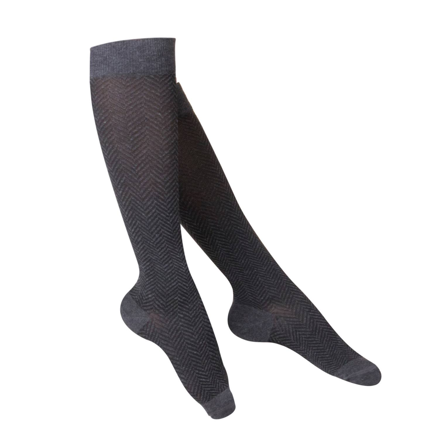 Touch Women's Knee High Compression Socks - Pattern Knit, 15-20 mmHg, Charcoal, Medium