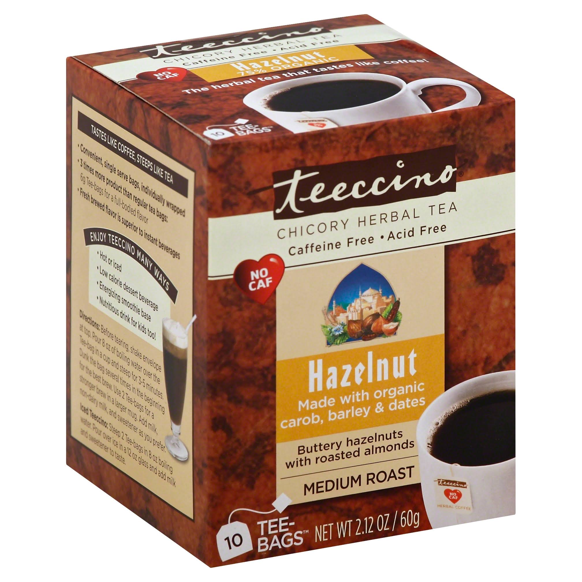 Teeccino Caffeine-Free Herbal Coffee - Hazelnut, 10 Bags