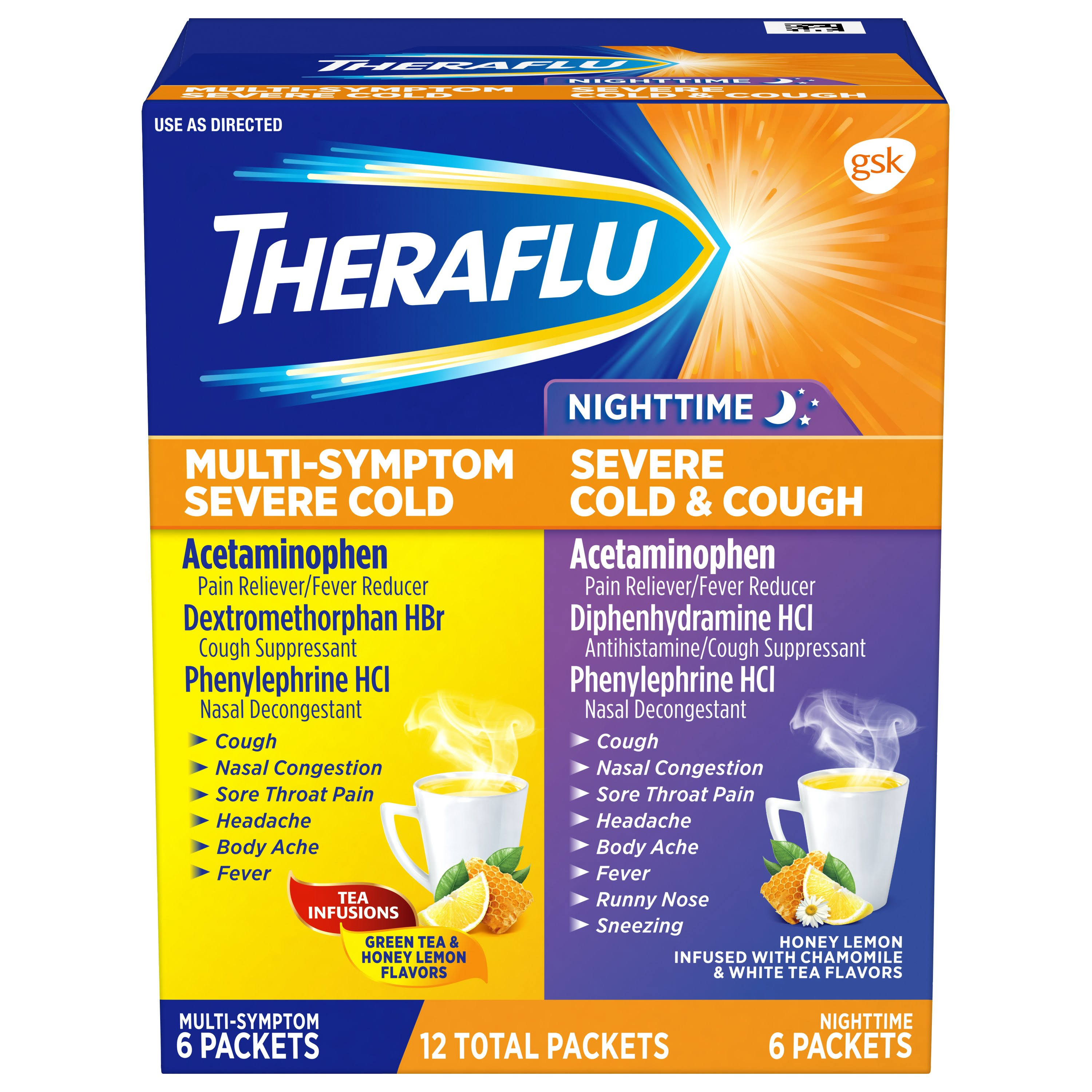 Theraflu Night Time & Multi Symptom Severe Cold and Cough Relief - 12 Packet