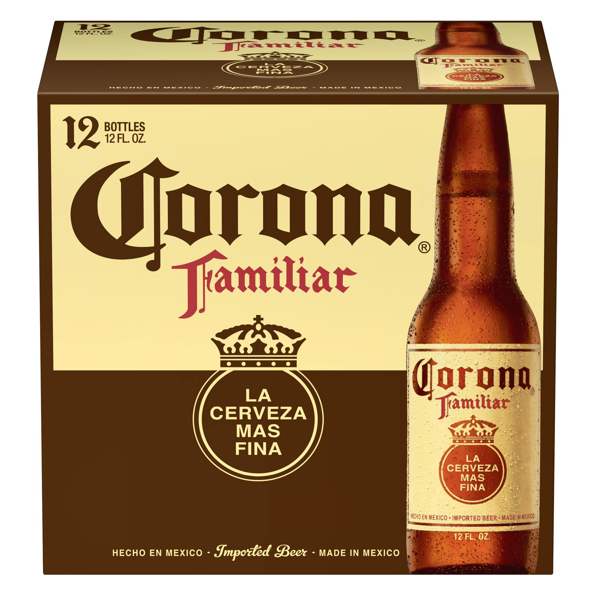 Corona Familiar Premier Beer - 12oz, 12 Bottles