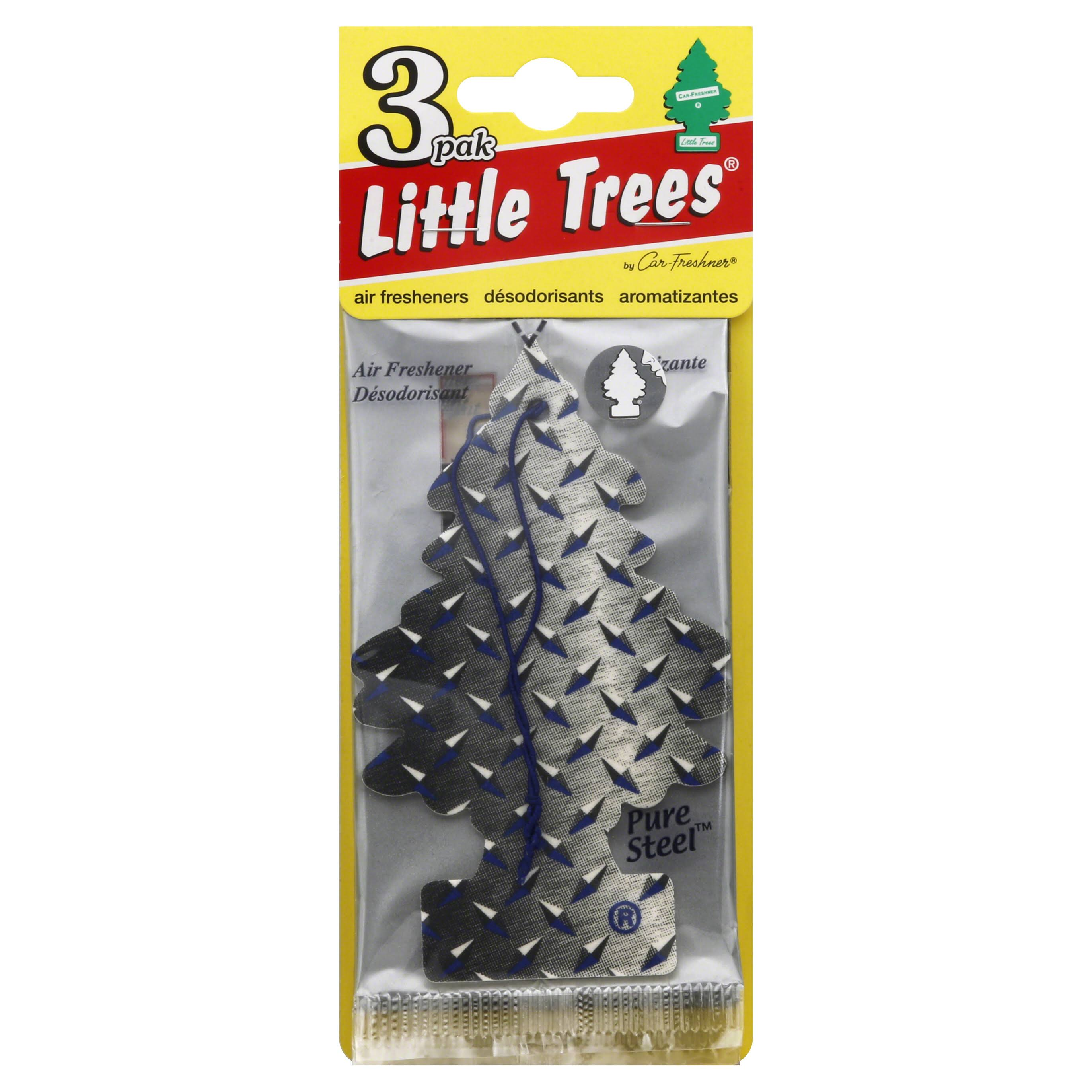 Little Tree Car Air Freshener - Pure Steel, 3 Pack