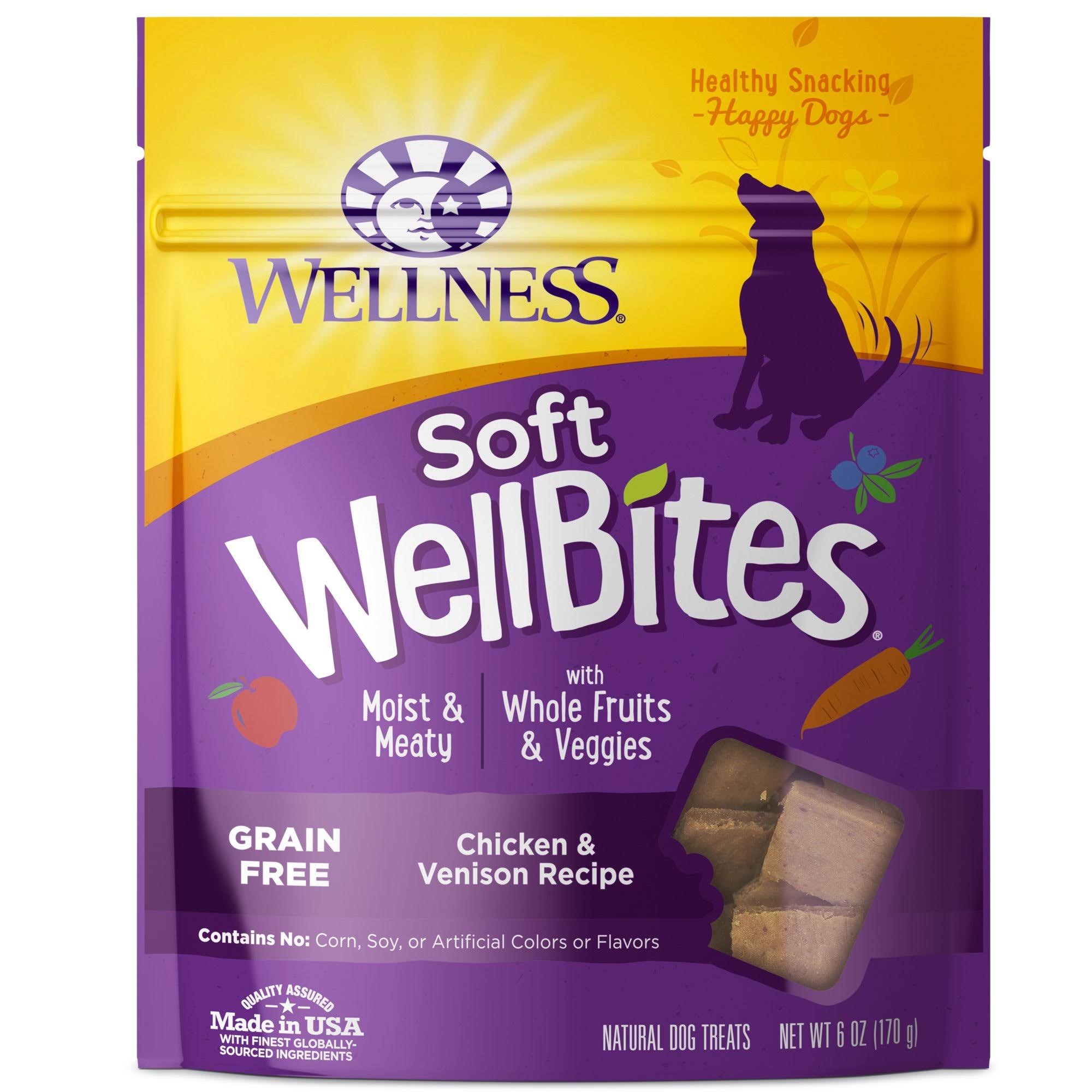 Wellness Soft Well Bites Dog Treats - Chicken & Venison Recipe, 170g