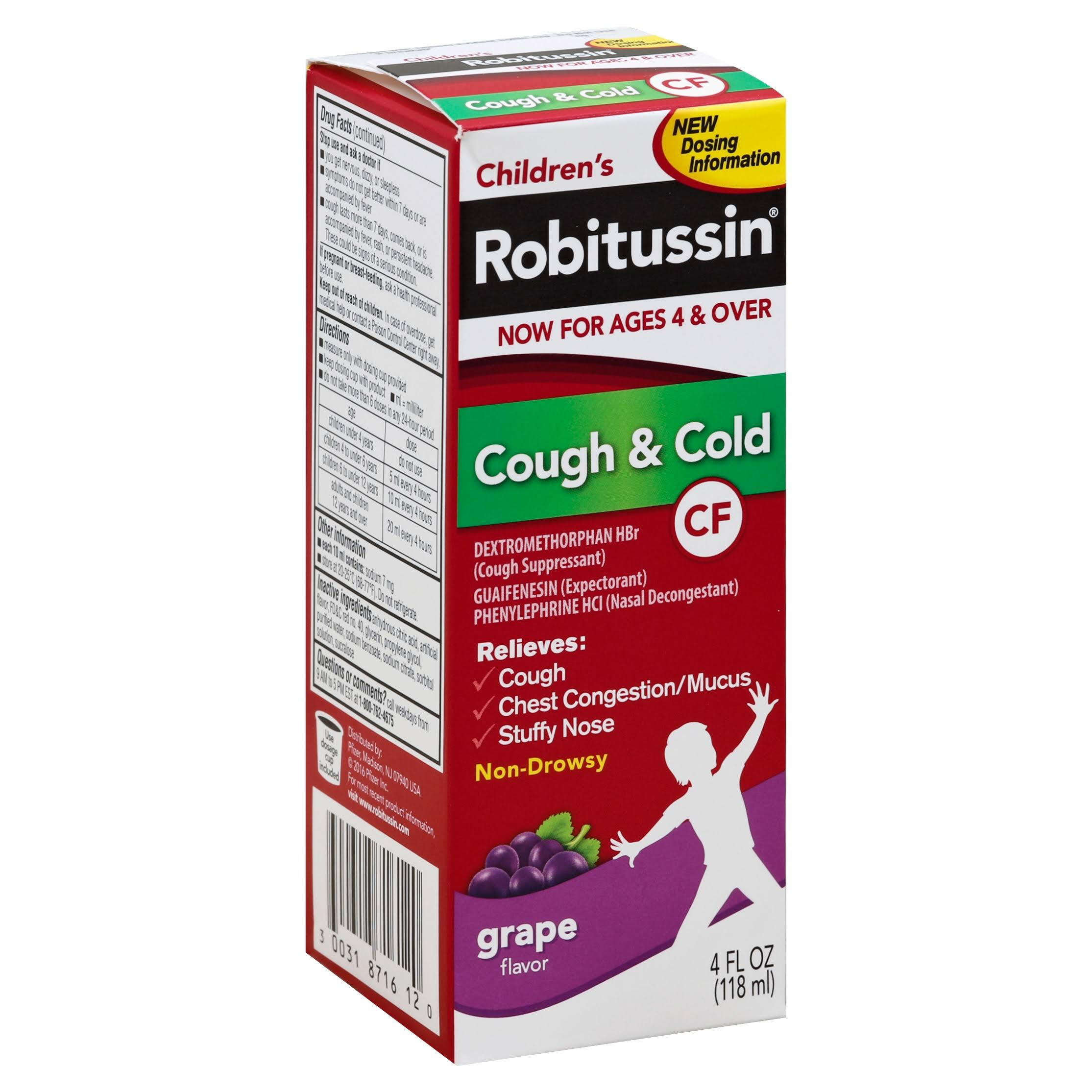 Robitussin Children's Cough & Cold Relief Syrup - Grape, 118ml