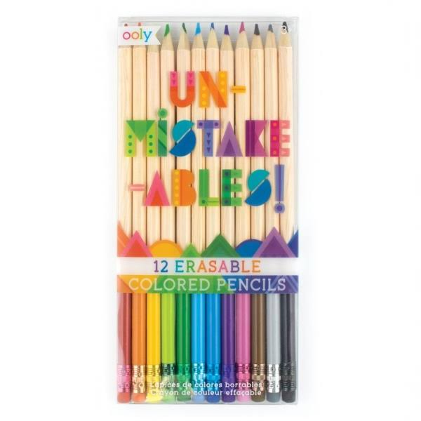 OOLY, UnMistakeAbles Erasable Colored Pencils - Set of 12