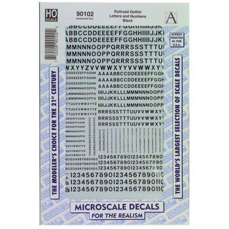 Microscale HO Letters & Numbers - Gothic, Black