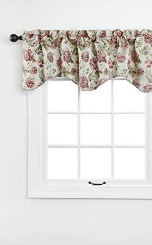 "Renaissance Home Fashion Dahlia Lined Scalloped Valance with Cording, 55 by 17"", Beige"