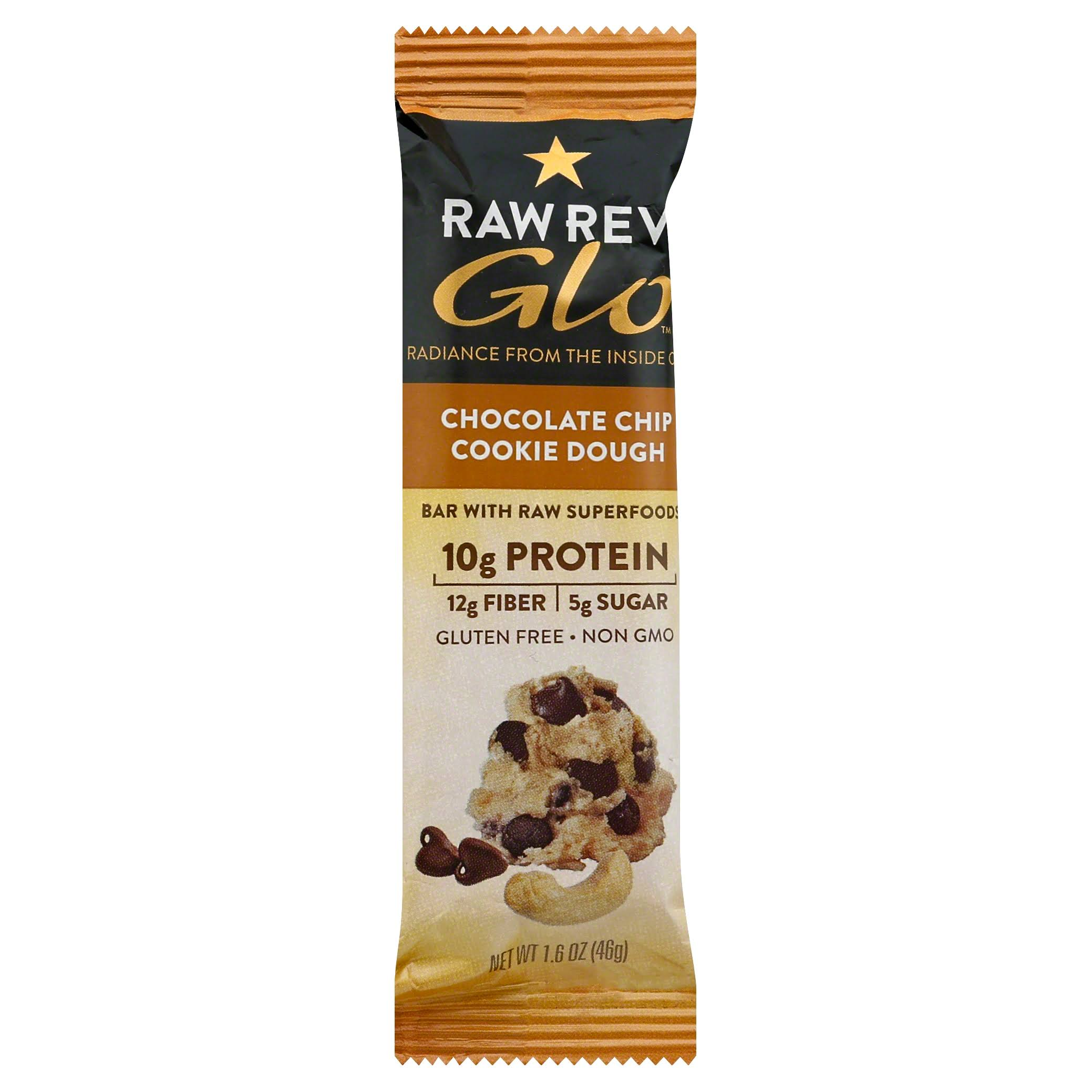 Raw Revolution Glo Bar, with Raw Superfoods, Chocolate Chip Cookie Dough - 1.6 oz