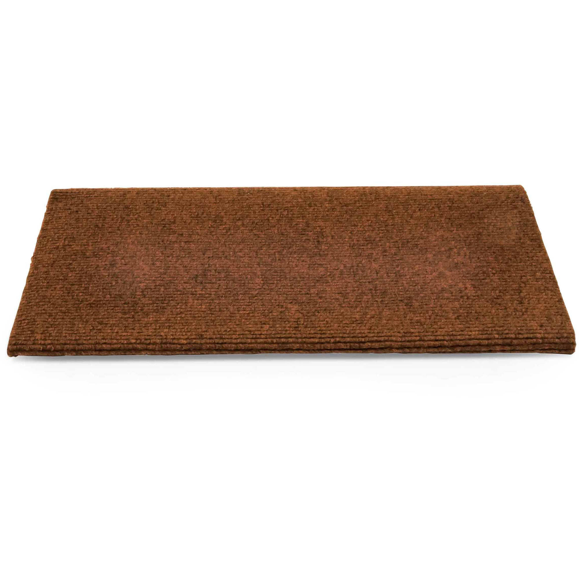 Camco 42906 Premium Wrap Around RV Step Rug, Single Rib Design, 100 Percent Polyester (17.5 inch x 18 inch), Brown
