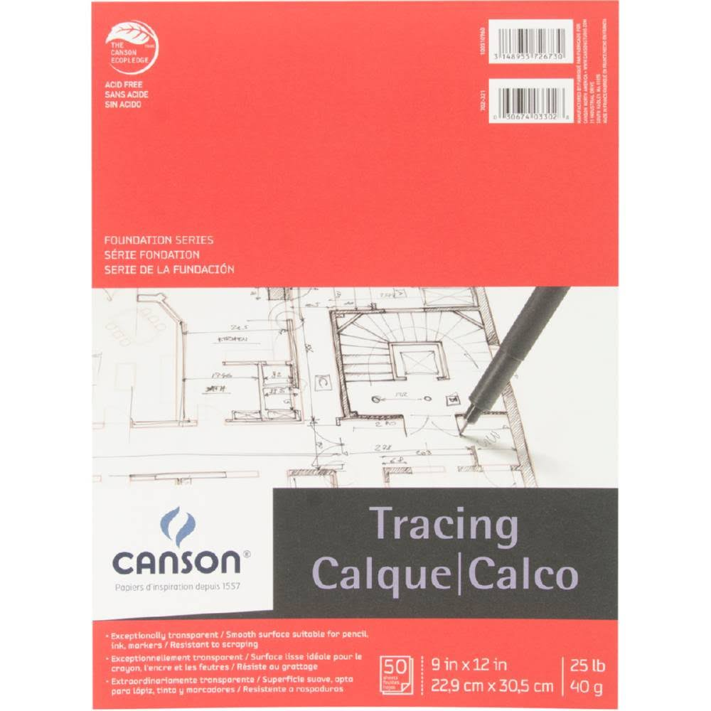 Pro-Art 9-Inch by 12-Inch Canson Tracing Paper Pad - 50-Sheet
