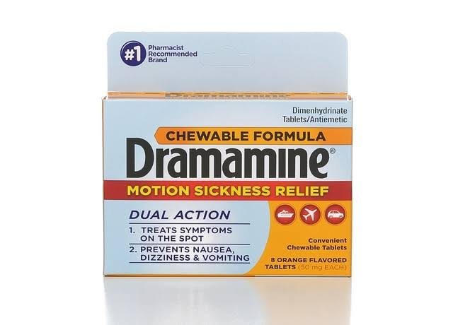 Dramamine Motion Sickness Relief Chewable Tablets - Orange, 8 Pack