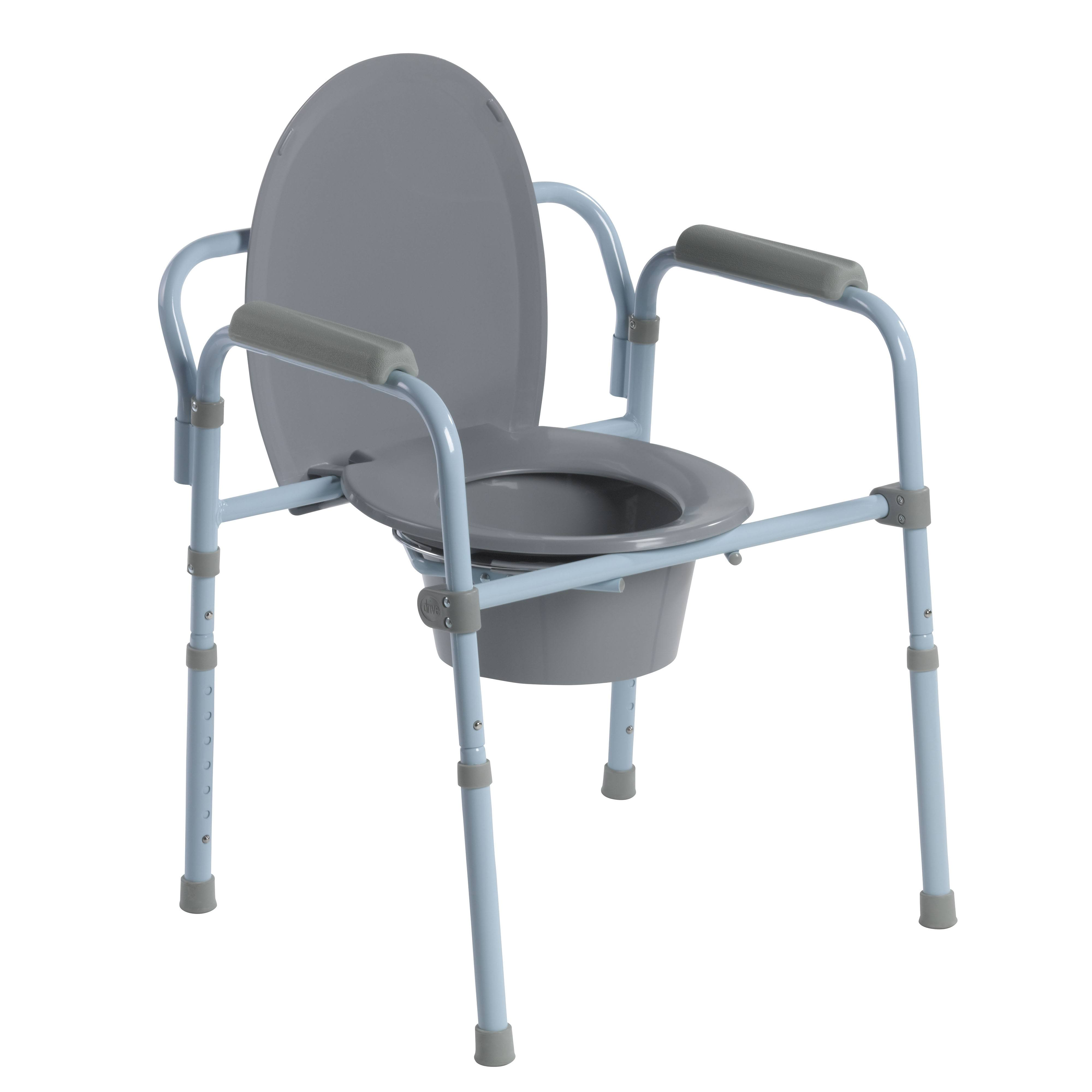 Drive Medical RTL11158KDR Steel Folding Frame Commode - Gray