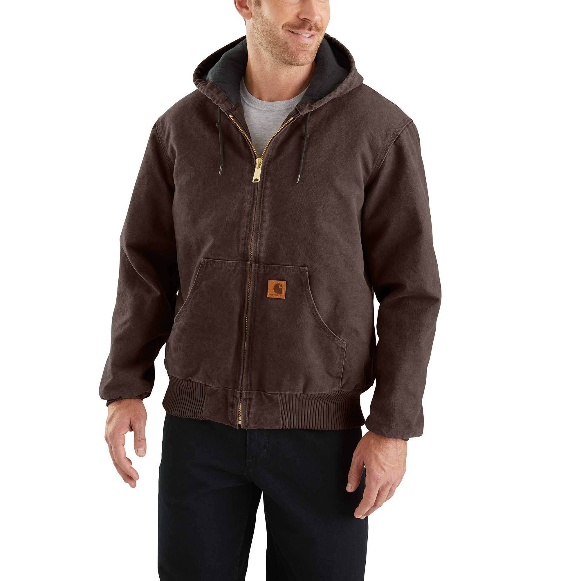 Carhartt Mens Quilted Flannel Lined Sandstone Active Jacket - Dark Brown, X-Large