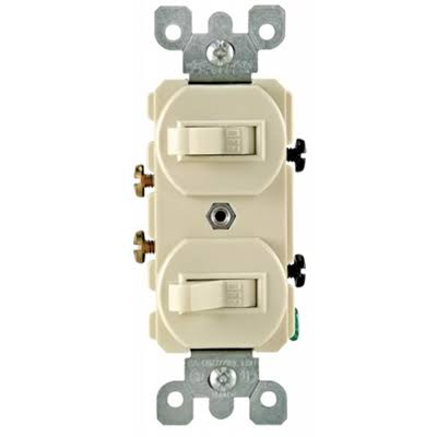 Leviton Combination Double Rocker Switch - 15 Amp