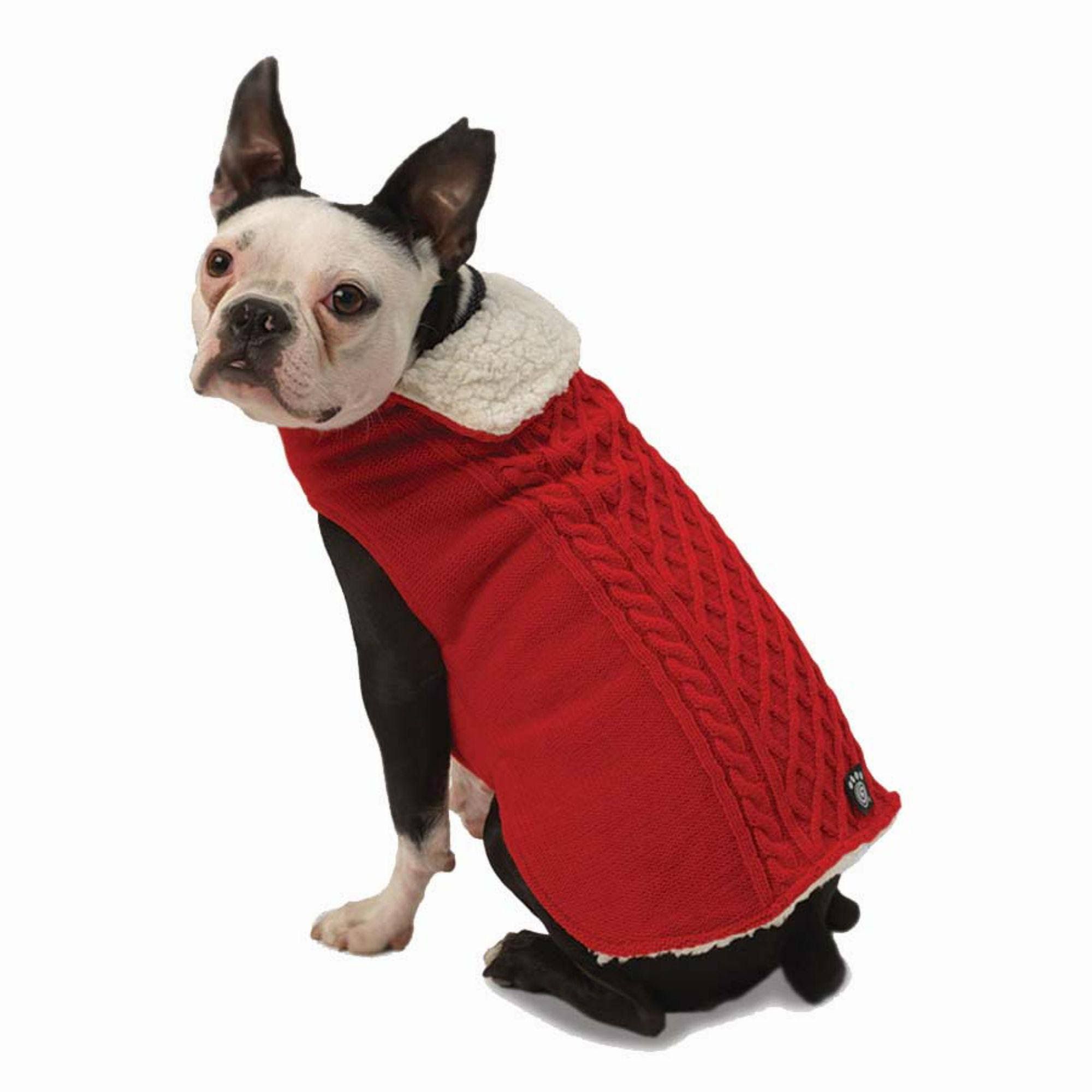 Petrageous Carles Cable Dog Sweater Small Red, Men's