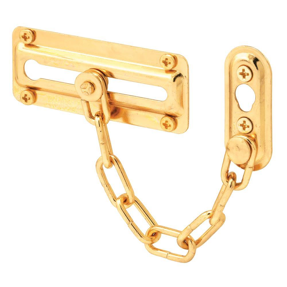 Prime Line Entry Door Chain Lock - Brass Plated Steel