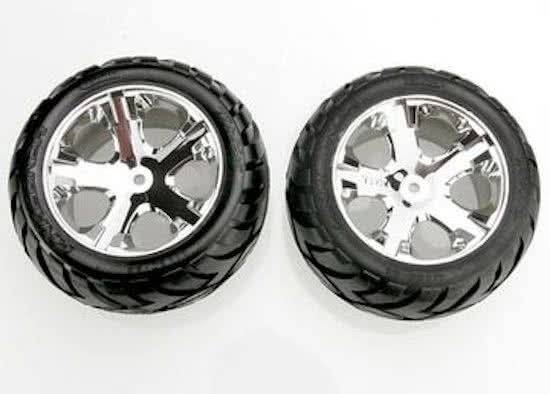 Traxxas 3773 Chrome All-Star Wheels, Anaconda Tires
