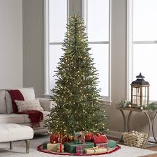Vickerman Flocked Slim Christmas Tree by 7 5 Ft Delicate Pine Slim Pre Lit Christmas Tree Hayneedle