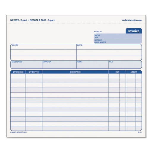 Tops Snap-Off Invoice 8 1/2 x 7 Three-Part Carbonless 50 Forms