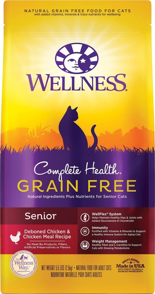 Wellness Complete Health Senior Cat Dry Food - Deboned Chicken & Chicken Meal, 5.5lb