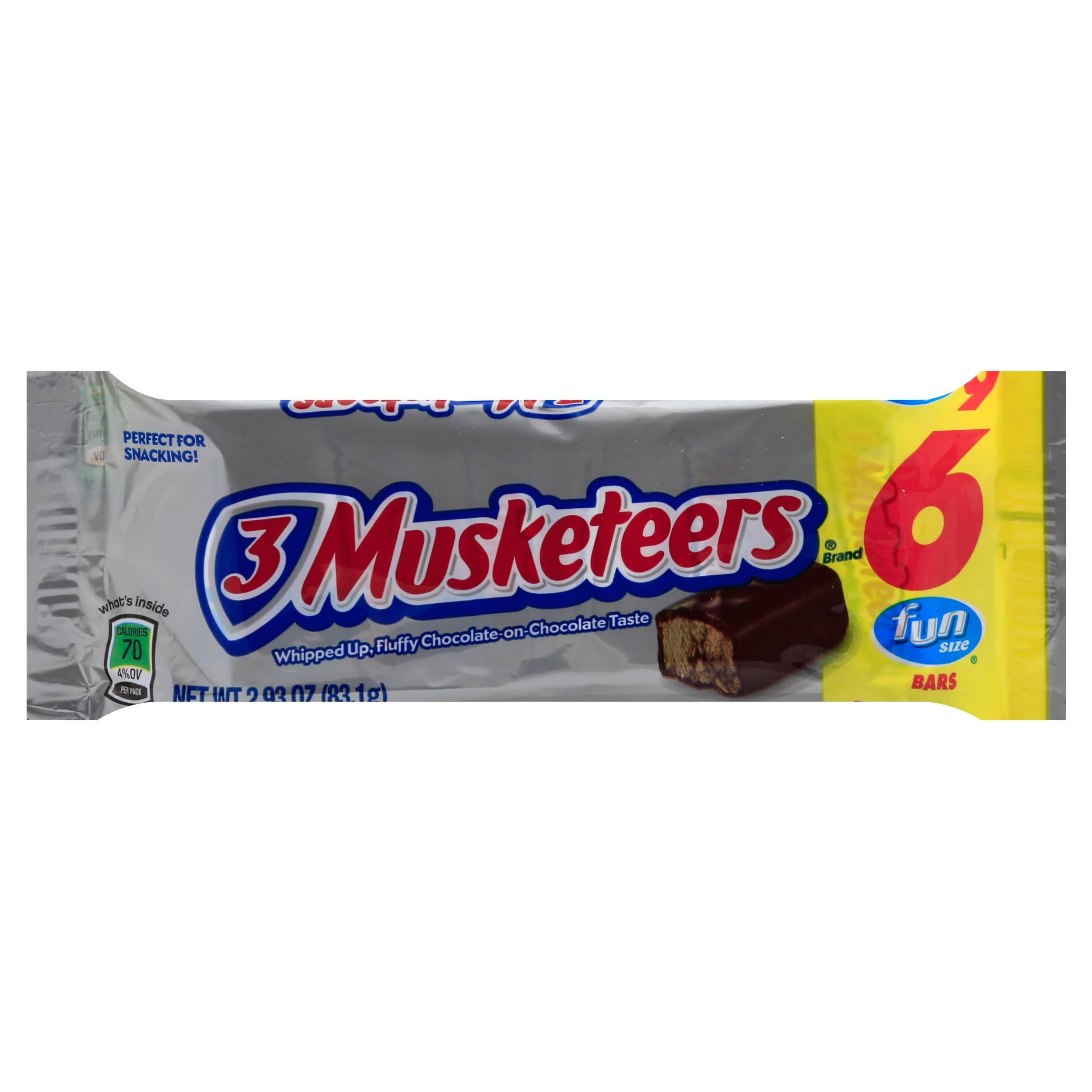 3 Musketeers Chocolate Candy Bar - Fun Size, 6pk