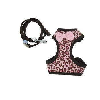 EasyGo Leopard Dog Harness by Dogo - Pink - Medium